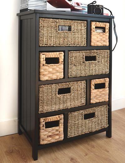 Black cabinet with 8 storage baskets