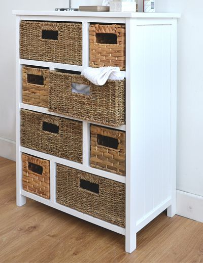 White cabinet with 8 storage baskets
