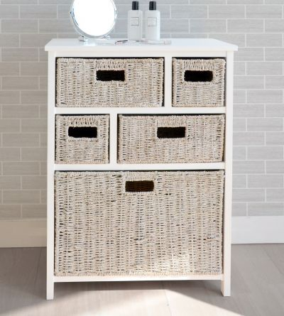 White cabinet with 5 whitewash baskets
