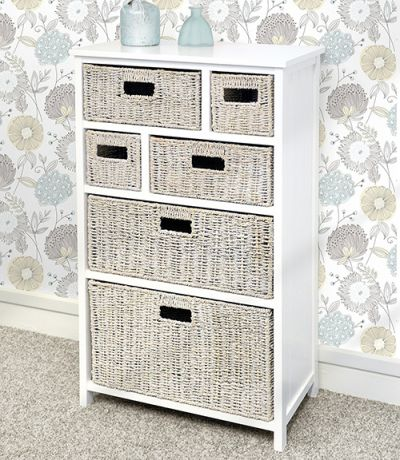 White cabinet with 6 whitewash baskets