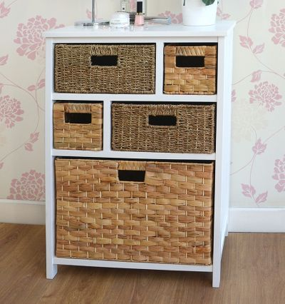 White cabinet with 5 storage baskets