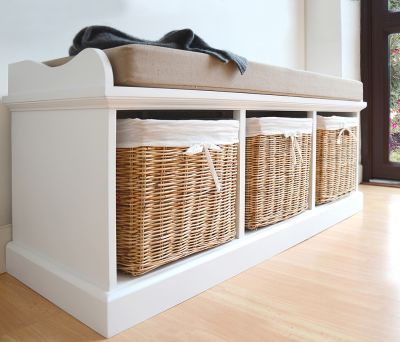 Large storage bench with 3 natural baskets