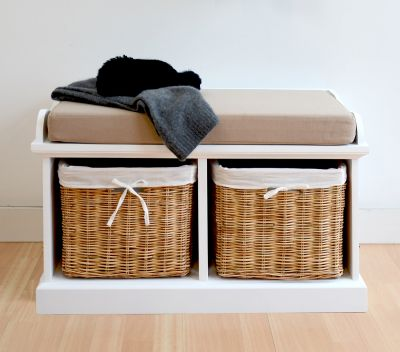 Small storage bench with 2 natural baskets